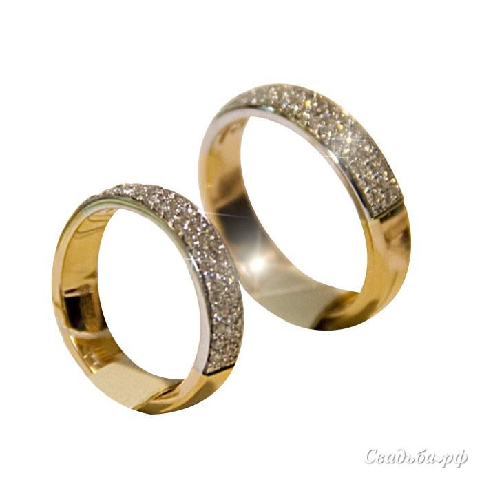 Купить обручальные кольца Э203 (Италия, материал: желтое золото, с несколькими бриллиантами) - Cеть ювелирных салонов