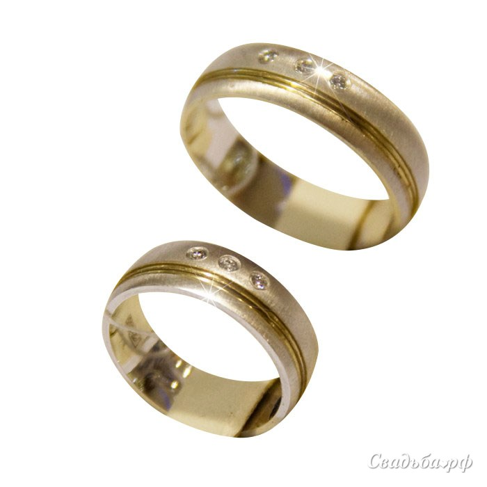 Купить обручальные кольца Э206 (Италия, материал: комбинированное, с несколькими бриллиантами) - Cеть ювелирных